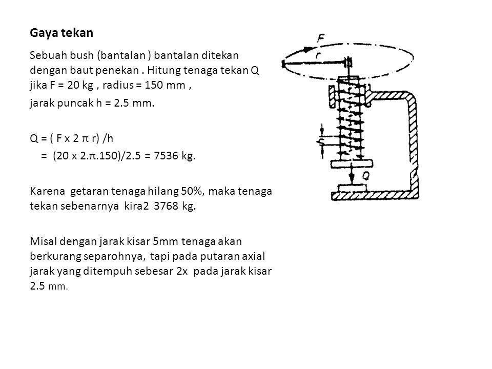 Gaya tekan Sebuah bush (bantalan ) bantalan ditekan dengan baut penekan . Hitung tenaga tekan Q jika F = 20 kg , radius = 150 mm ,
