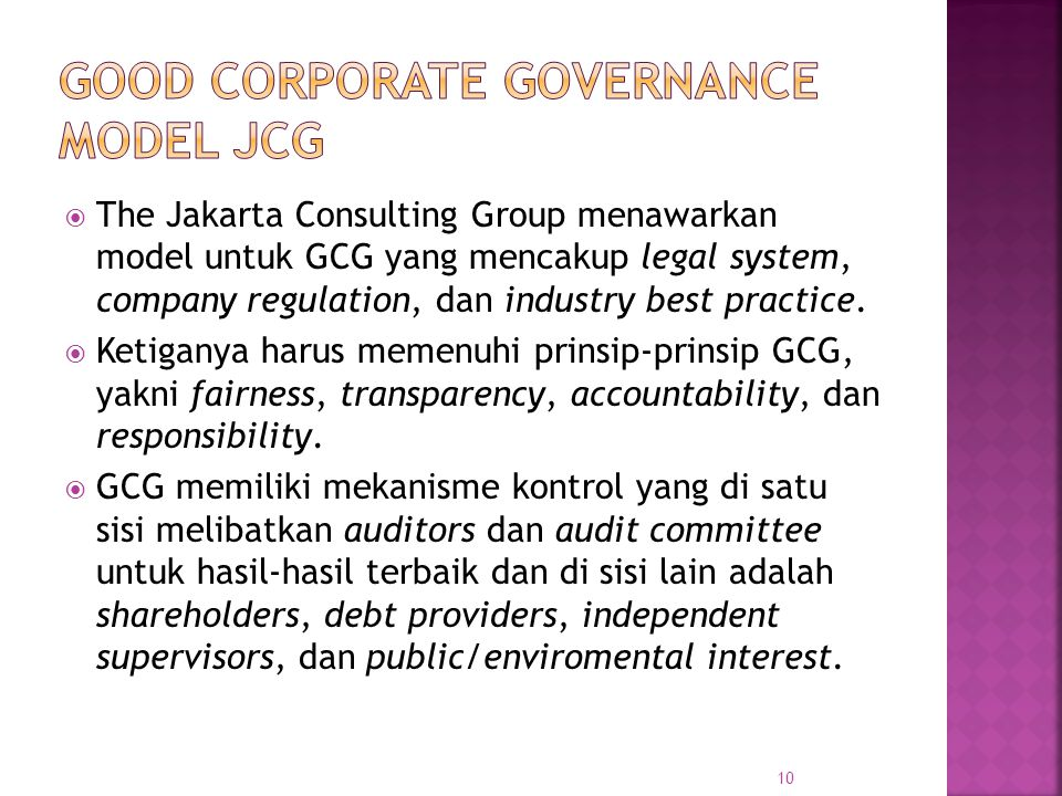Good Corporate Governance Model JCG