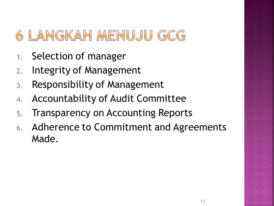 6 Langkah Menuju GCG Selection of manager Integrity of Management