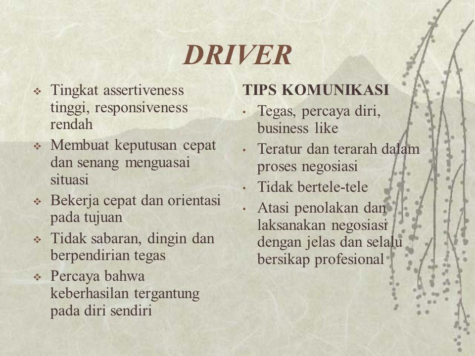 DRIVER Tingkat assertiveness tinggi, responsiveness rendah