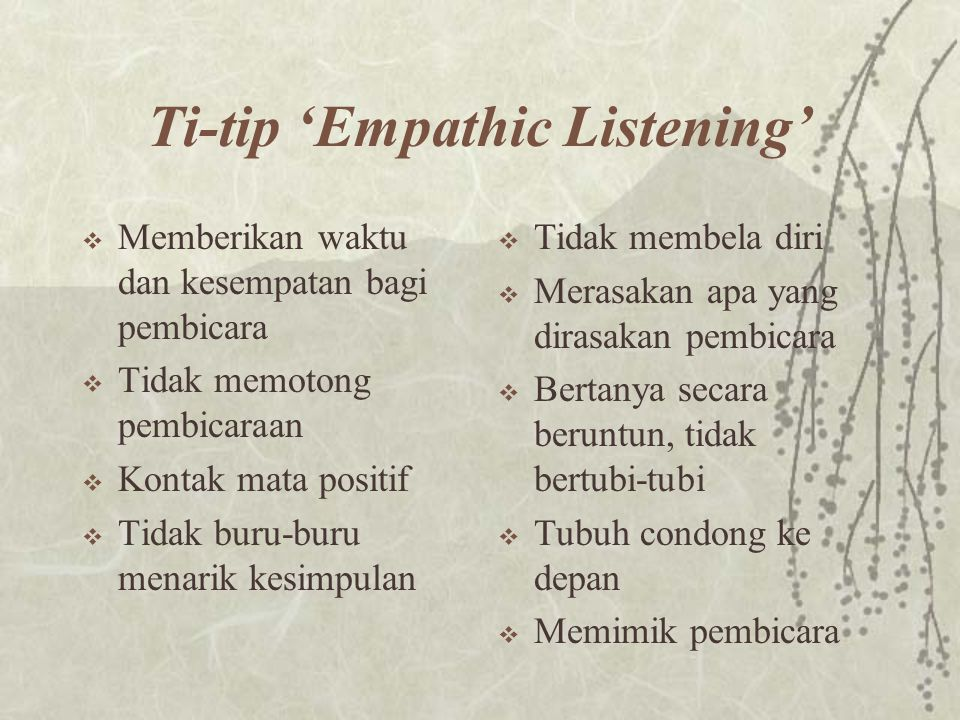 Ti-tip 'Empathic Listening'