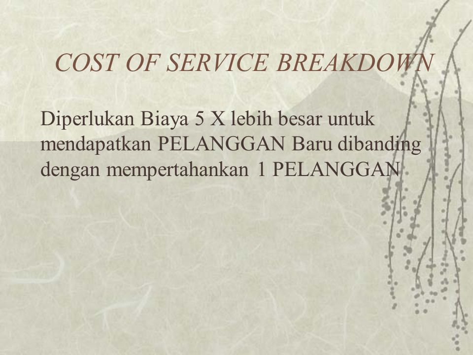 COST OF SERVICE BREAKDOWN