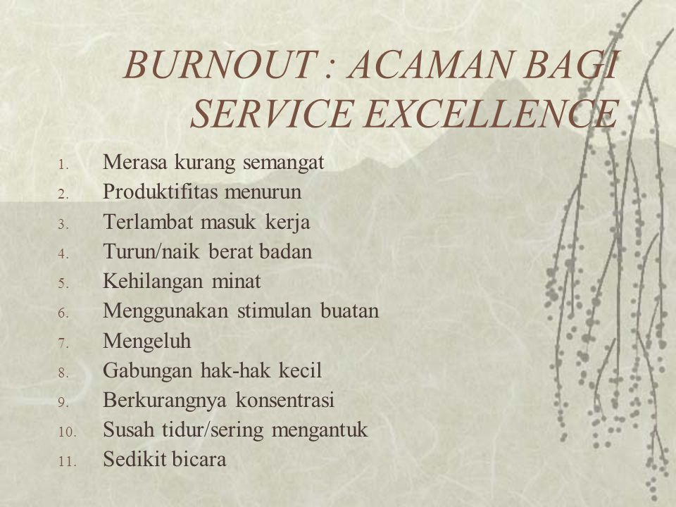 BURNOUT : ACAMAN BAGI SERVICE EXCELLENCE