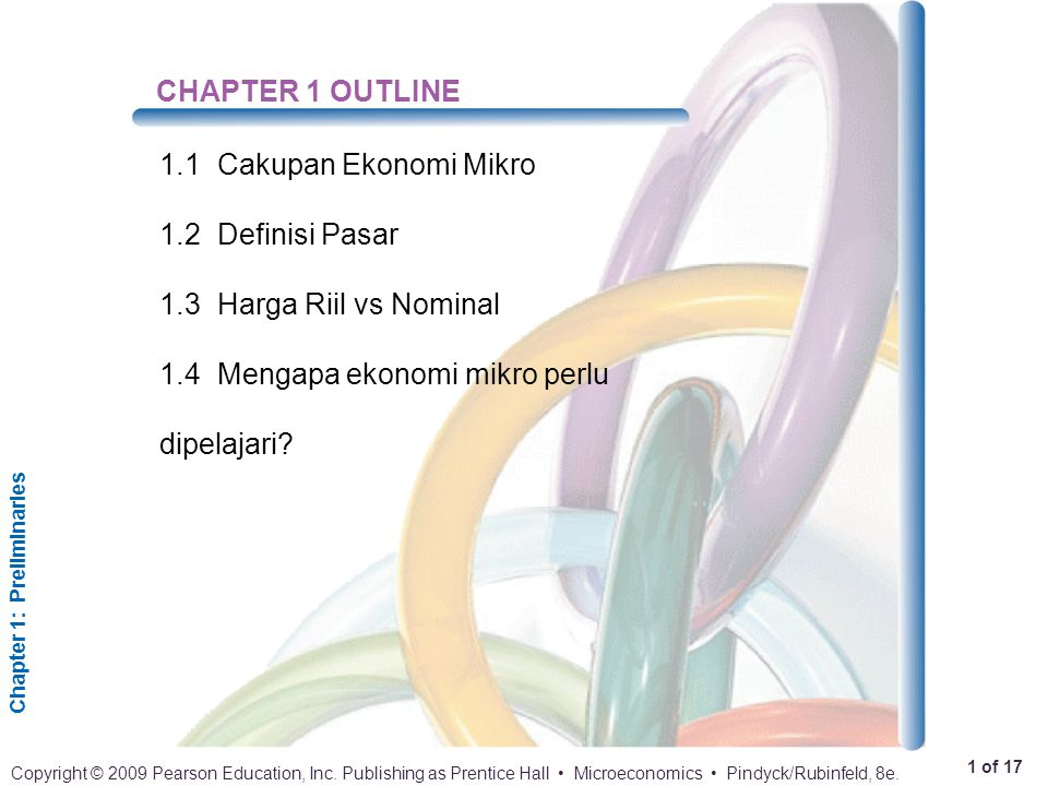 CHAPTER 1 OUTLINE 1.1 Cakupan Ekonomi Mikro. 1.2 Definisi Pasar.