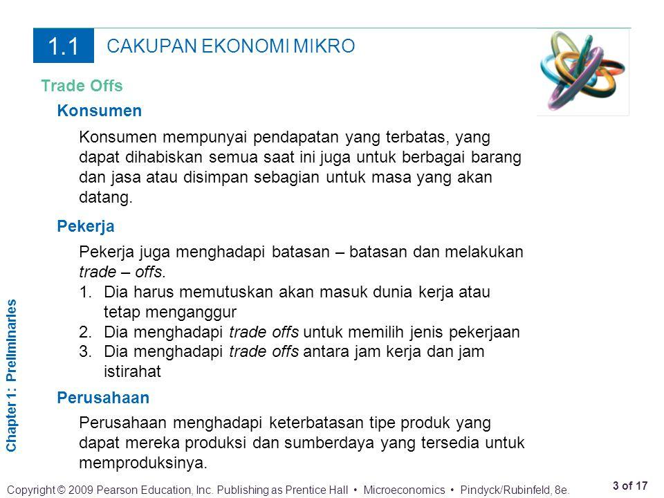 1.1 CAKUPAN EKONOMI MIKRO Trade Offs Konsumen