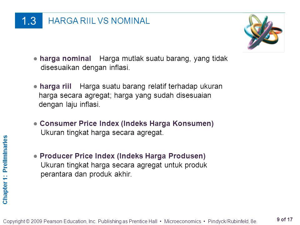 1.3 HARGA RIIL VS NOMINAL. ● harga nominal Harga mutlak suatu barang, yang tidak disesuaikan dengan inflasi.