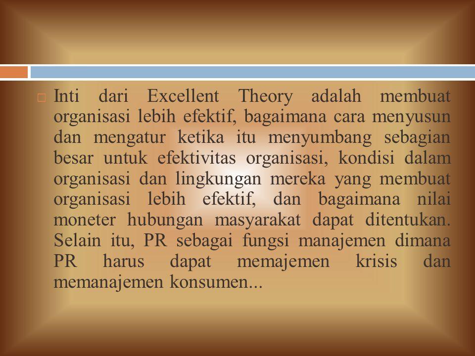 Inti dari Excellent Theory adalah membuat organisasi lebih efektif, bagaimana cara menyusun dan mengatur ketika itu menyumbang sebagian besar untuk efektivitas organisasi, kondisi dalam organisasi dan lingkungan mereka yang membuat organisasi lebih efektif, dan bagaimana nilai moneter hubungan masyarakat dapat ditentukan.