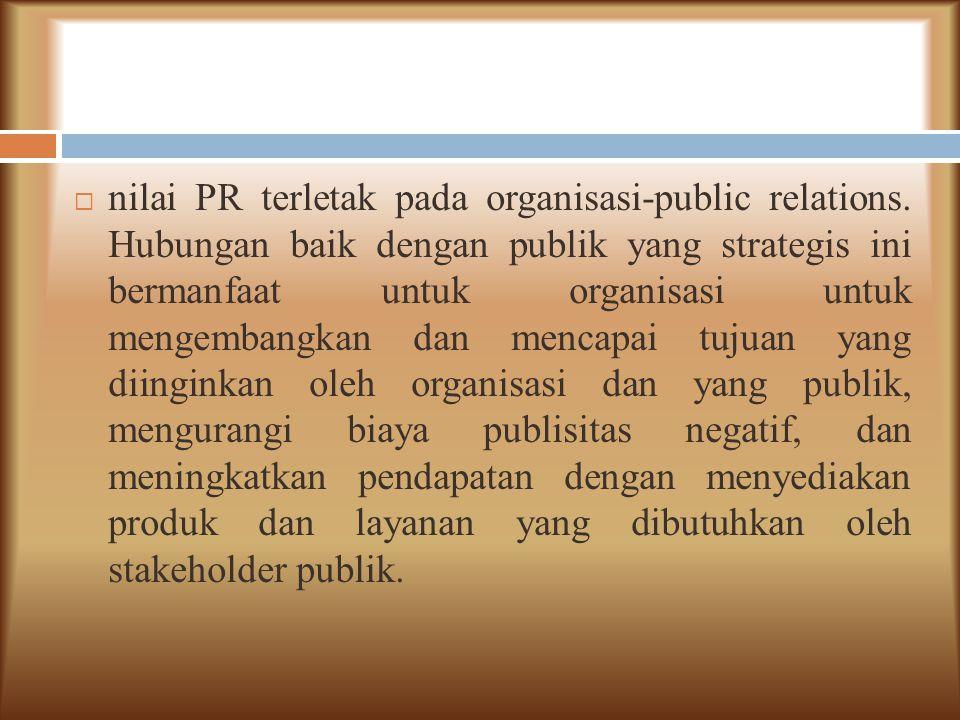 nilai PR terletak pada organisasi-public relations