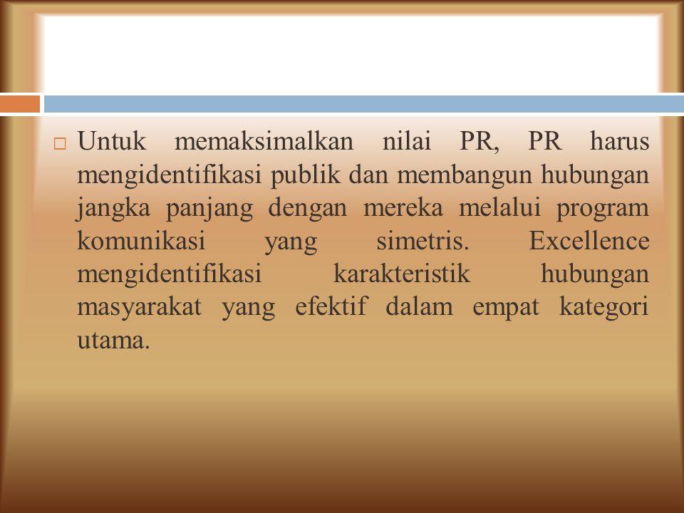 Untuk memaksimalkan nilai PR, PR harus mengidentifikasi publik dan membangun hubungan jangka panjang dengan mereka melalui program komunikasi yang simetris.