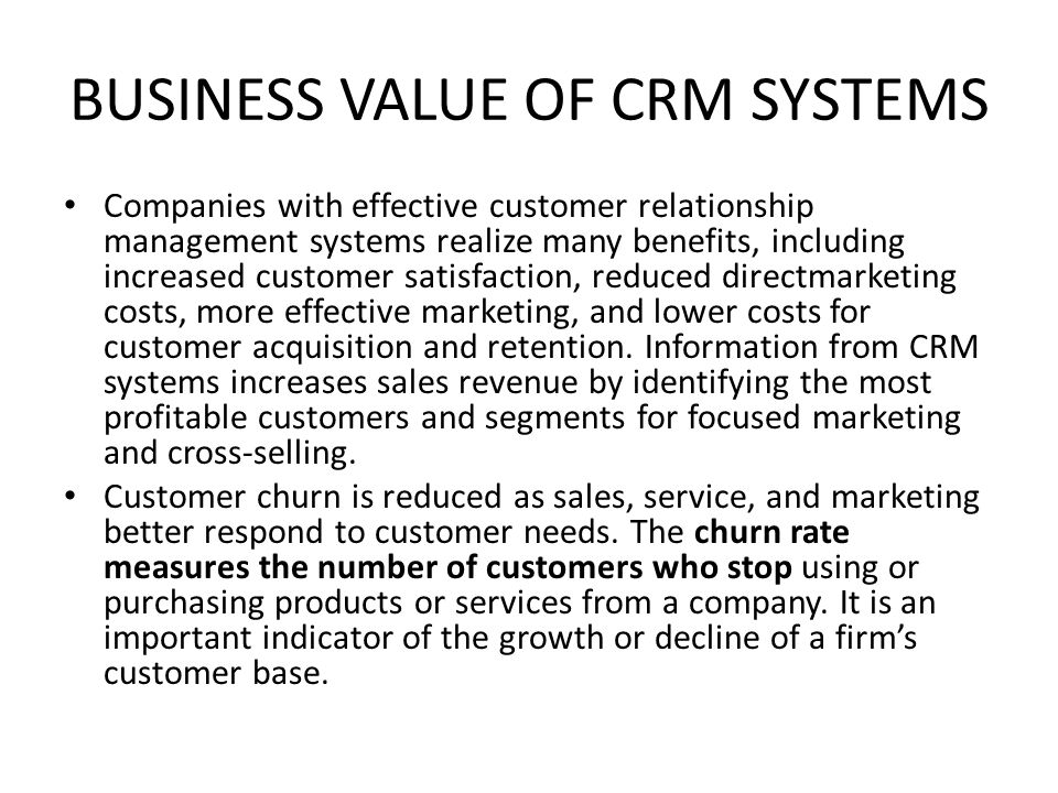 BUSINESS VALUE OF CRM SYSTEMS