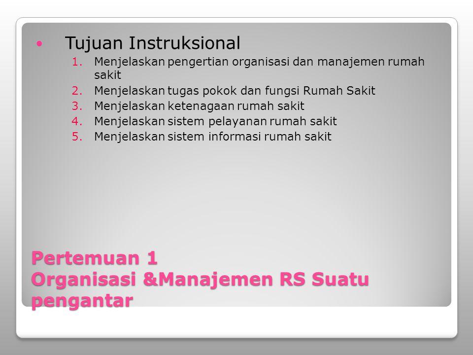 Pertemuan 1 Organisasi &Manajemen RS Suatu pengantar