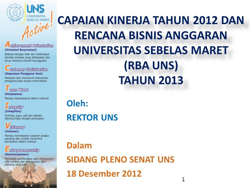 Oleh: REKTOR UNS Dalam SIDANG PLENO SENAT UNS 18 Desember 2012