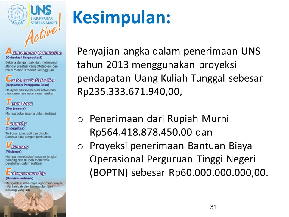 Kesimpulan: Penyajian angka dalam penerimaan UNS tahun 2013 menggunakan proyeksi pendapatan Uang Kuliah Tunggal sebesar Rp235.333.671.940,00,