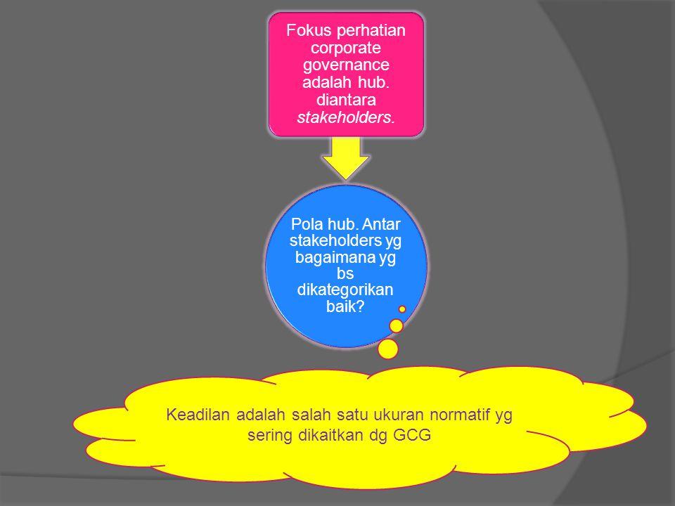 Keadilan adalah salah satu ukuran normatif yg sering dikaitkan dg GCG