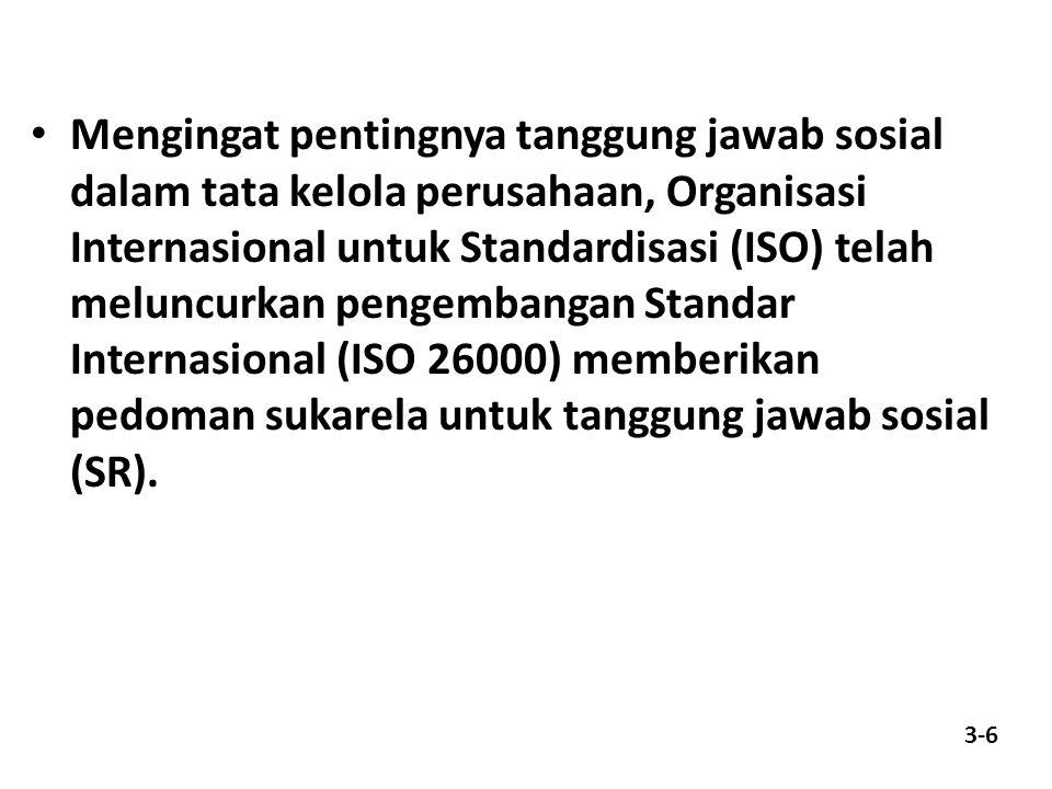 Mengingat pentingnya tanggung jawab sosial dalam tata kelola perusahaan, Organisasi Internasional untuk Standardisasi (ISO) telah meluncurkan pengembangan Standar Internasional (ISO 26000) memberikan pedoman sukarela untuk tanggung jawab sosial (SR).