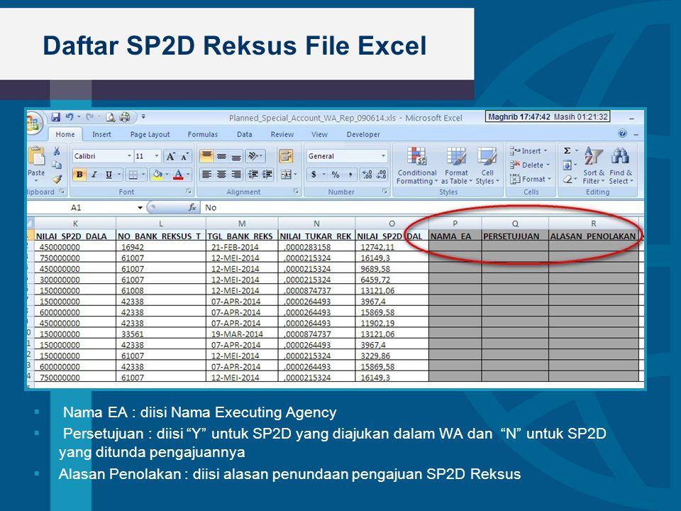 Daftar SP2D Reksus File Excel