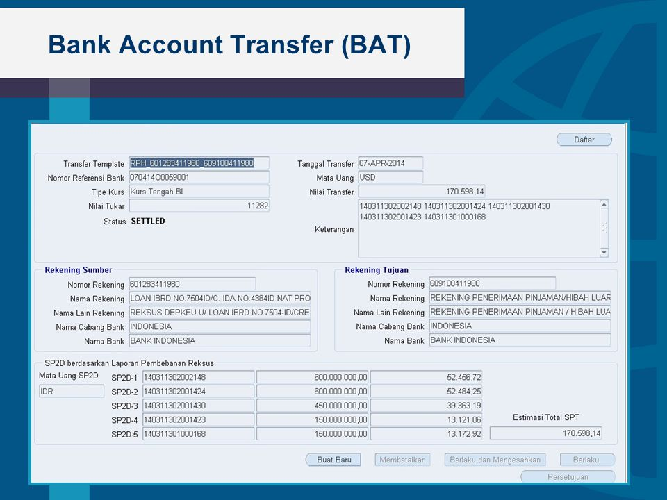 Bank Account Transfer (BAT)