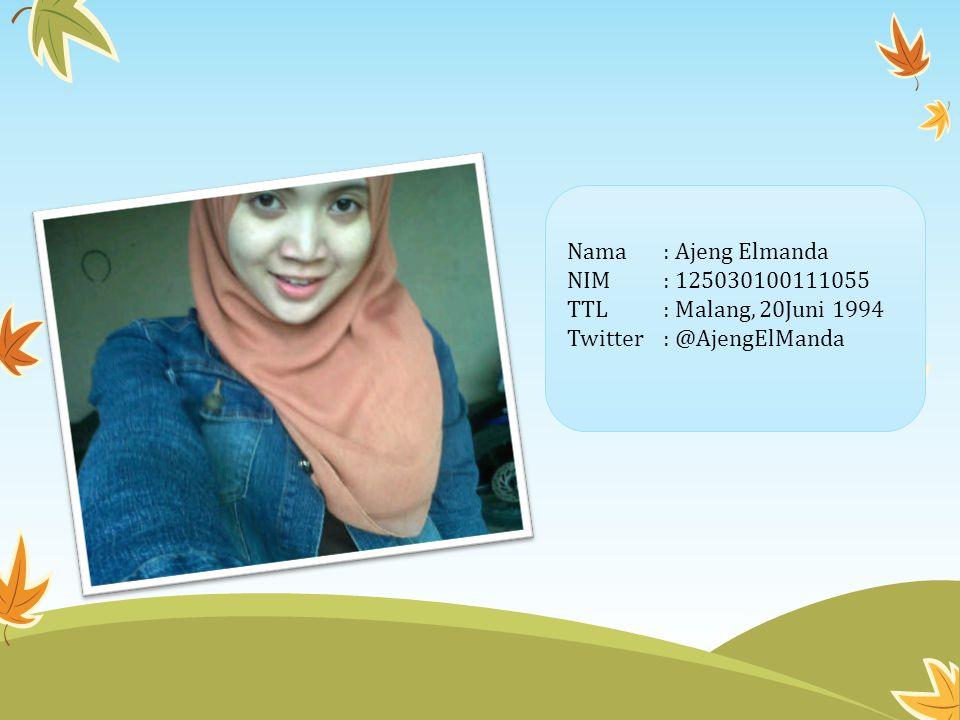 Nama : Ajeng Elmanda NIM : 125030100111055 TTL : Malang, 20Juni 1994 Twitter : @AjengElManda