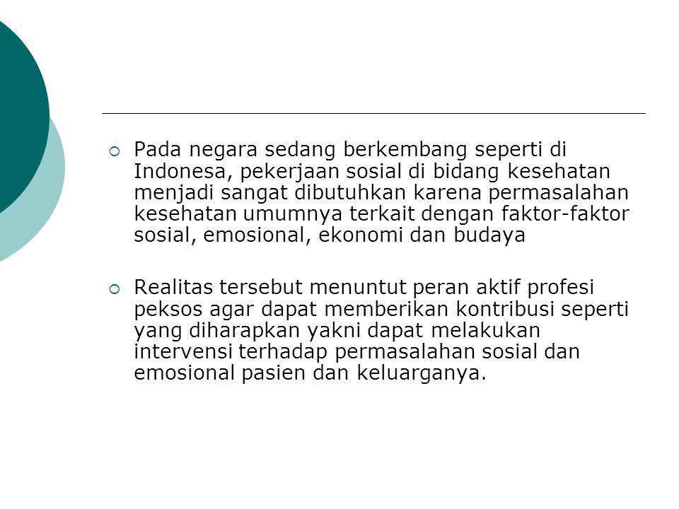 Pada negara sedang berkembang seperti di Indonesa, pekerjaan sosial di bidang kesehatan menjadi sangat dibutuhkan karena permasalahan kesehatan umumnya terkait dengan faktor-faktor sosial, emosional, ekonomi dan budaya