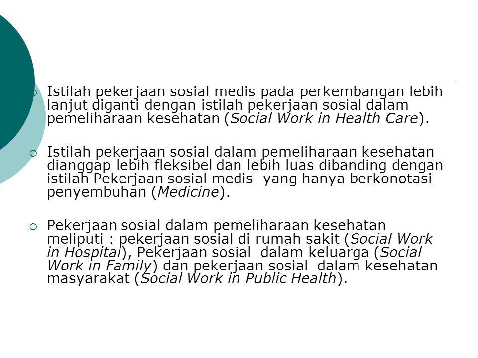 Istilah pekerjaan sosial medis pada perkembangan lebih lanjut diganti dengan istilah pekerjaan sosial dalam pemeliharaan kesehatan (Social Work in Health Care).