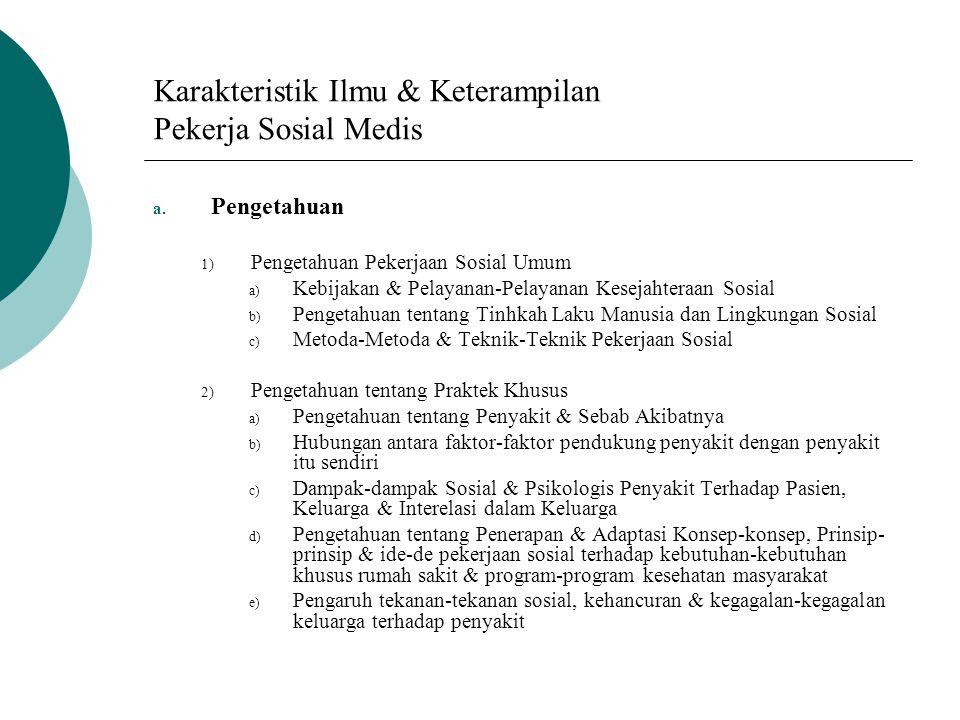 Karakteristik Ilmu & Keterampilan Pekerja Sosial Medis