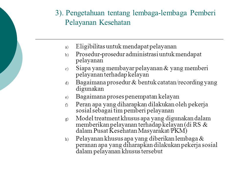 3). Pengetahuan tentang lembaga-lembaga Pemberi Pelayanan Kesehatan
