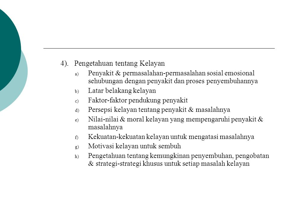 4). Pengetahuan tentang Kelayan