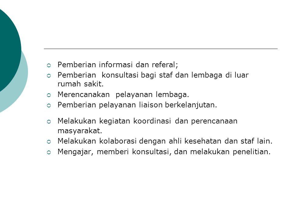 Pemberian informasi dan referal;