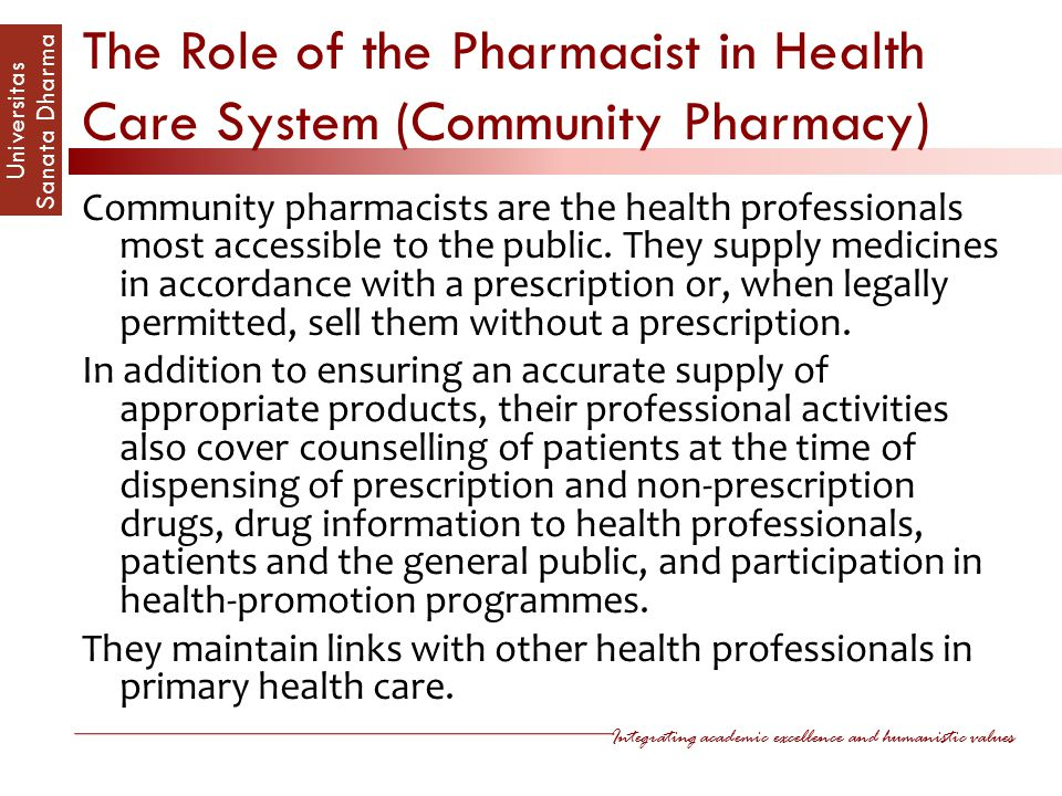 The Role of the Pharmacist in Health Care System (Community Pharmacy)