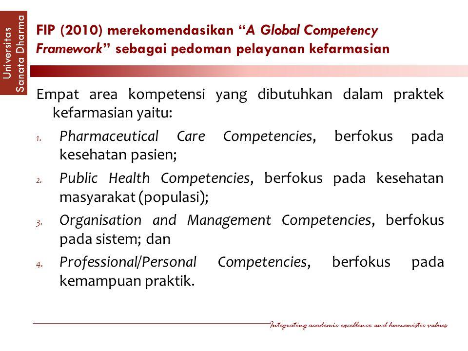 FIP (2010) merekomendasikan A Global Competency Framework sebagai pedoman pelayanan kefarmasian