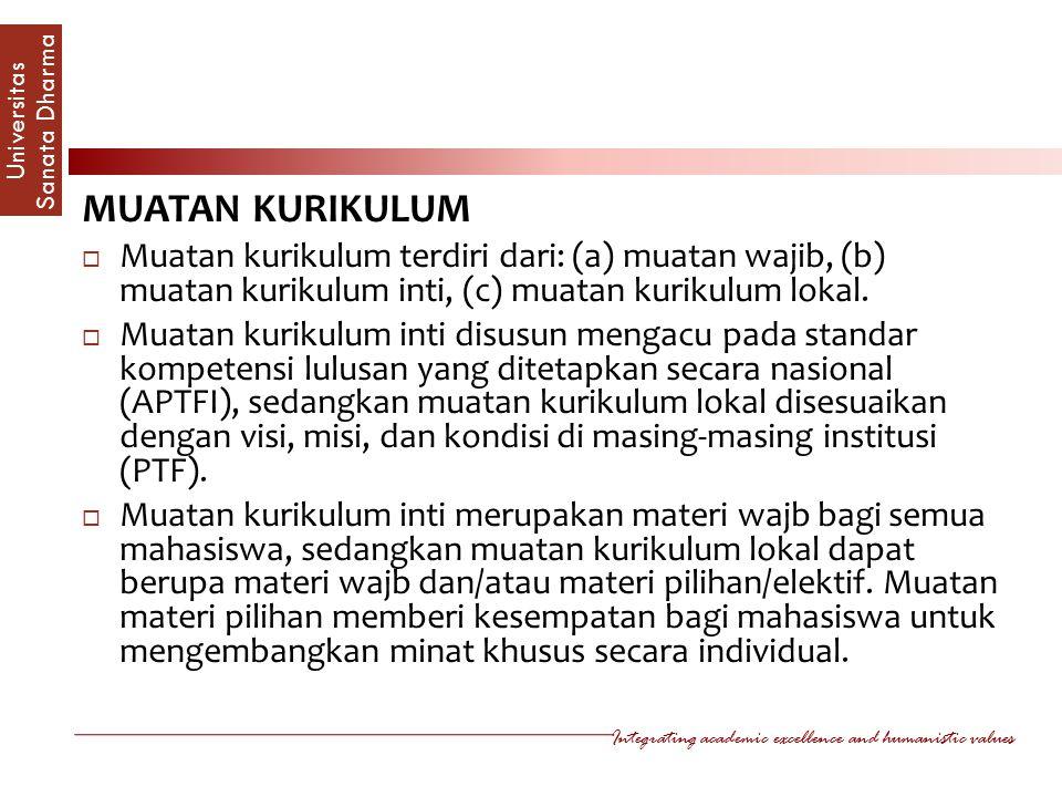 MUATAN KURIKULUM Muatan kurikulum terdiri dari: (a) muatan wajib, (b) muatan kurikulum inti, (c) muatan kurikulum lokal.