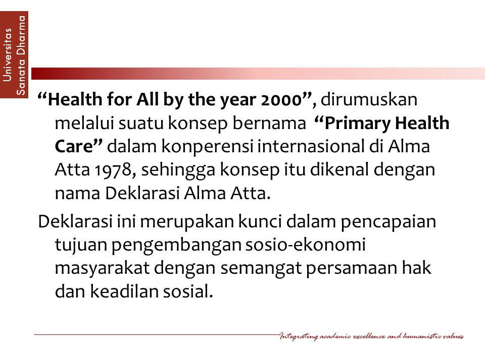 Health for All by the year 2000 , dirumuskan melalui suatu konsep bernama Primary Health Care dalam konperensi internasional di Alma Atta 1978, sehingga konsep itu dikenal dengan nama Deklarasi Alma Atta.