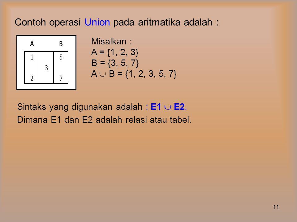 Contoh operasi Union pada aritmatika adalah :
