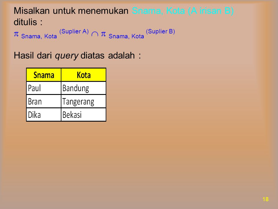 Misalkan untuk menemukan Snama, Kota (A irisan B) ditulis :  Snama, Kota (Suplier A)   Snama, Kota (Suplier B) Hasil dari query diatas adalah :