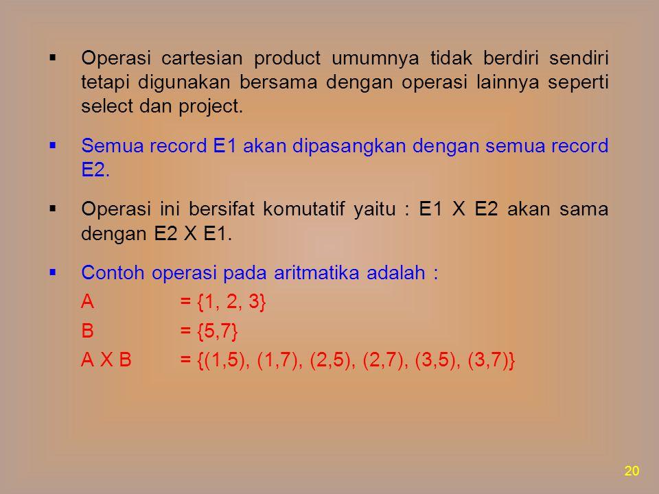 Operasi cartesian product umumnya tidak berdiri sendiri tetapi digunakan bersama dengan operasi lainnya seperti select dan project.