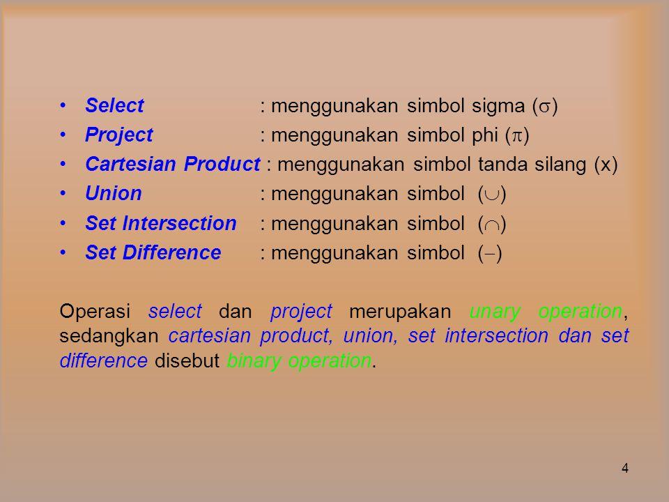 Select : menggunakan simbol sigma ()