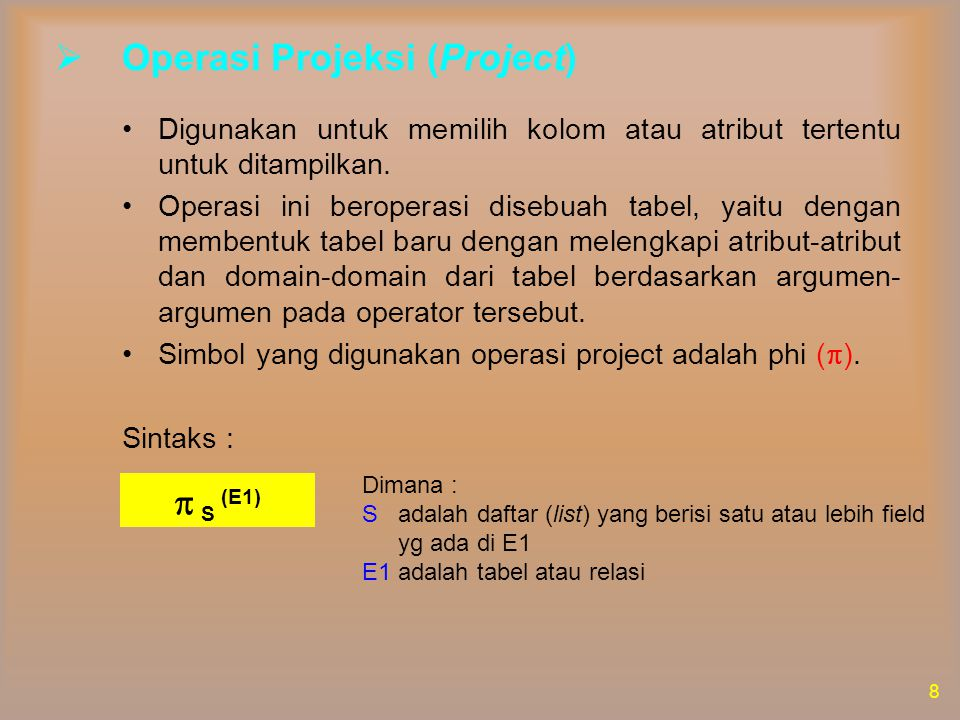 Operasi Projeksi (Project)