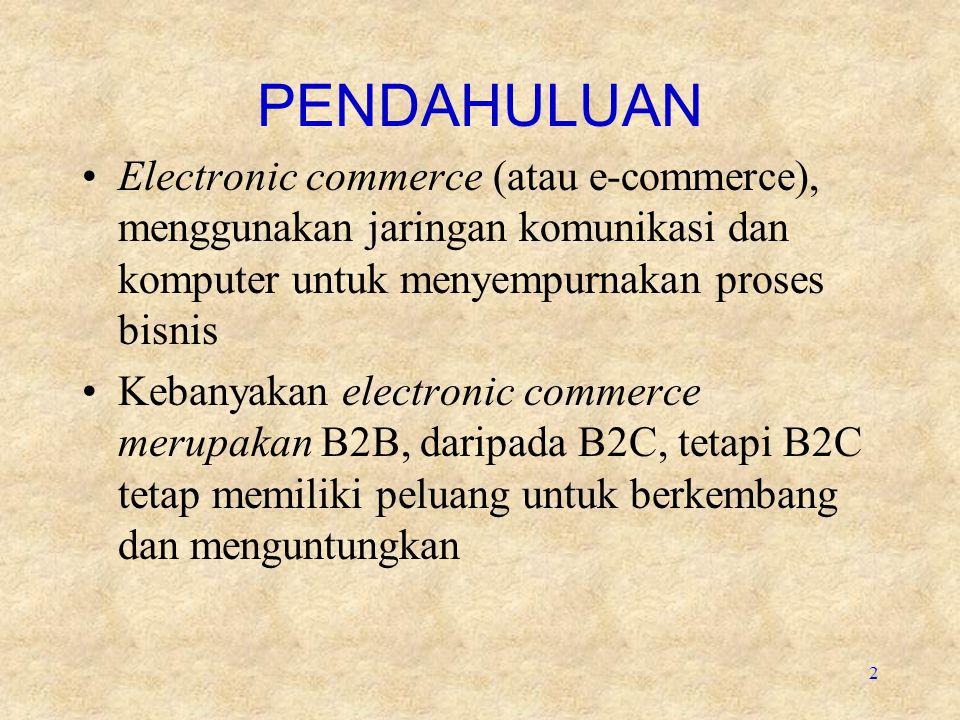 PENDAHULUAN Electronic commerce (atau e-commerce), menggunakan jaringan komunikasi dan komputer untuk menyempurnakan proses bisnis.