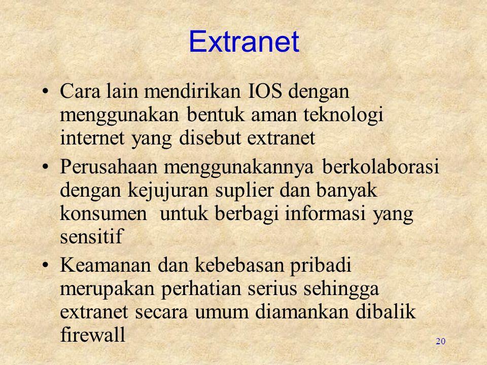 Extranet Cara lain mendirikan IOS dengan menggunakan bentuk aman teknologi internet yang disebut extranet.