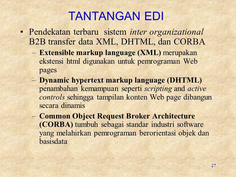 TANTANGAN EDI Pendekatan terbaru sistem inter organizational B2B transfer data XML, DHTML, dan CORBA.