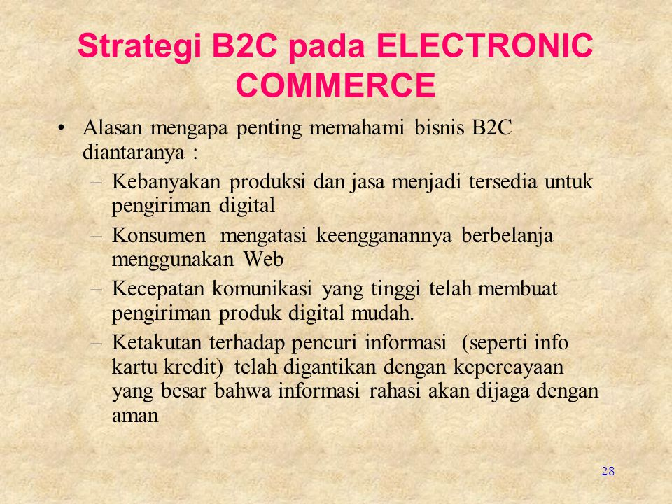 Strategi B2C pada ELECTRONIC COMMERCE