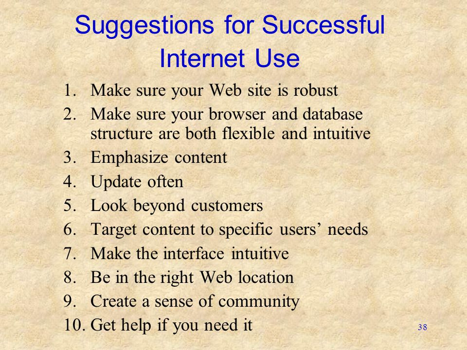 Suggestions for Successful Internet Use