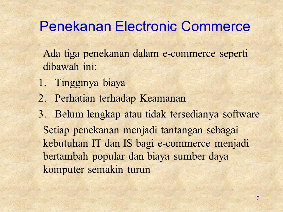 Penekanan Electronic Commerce