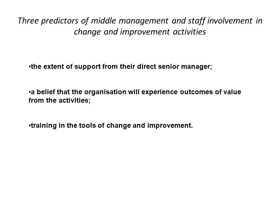 Three predictors of middle management and staff involvement in change and improvement activities