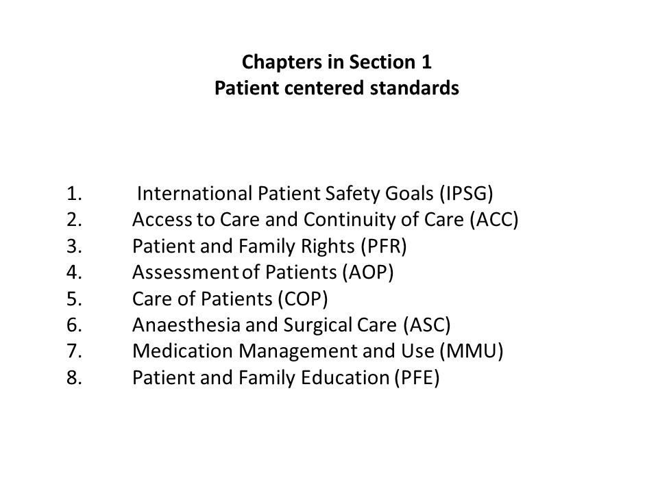 Patient centered standards