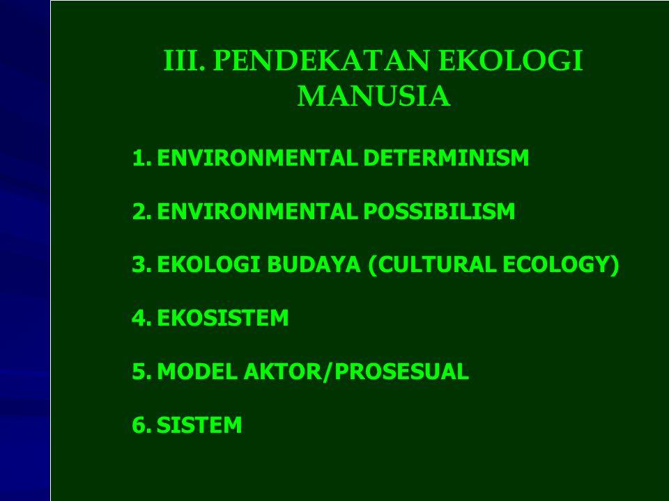 III. PENDEKATAN EKOLOGI MANUSIA