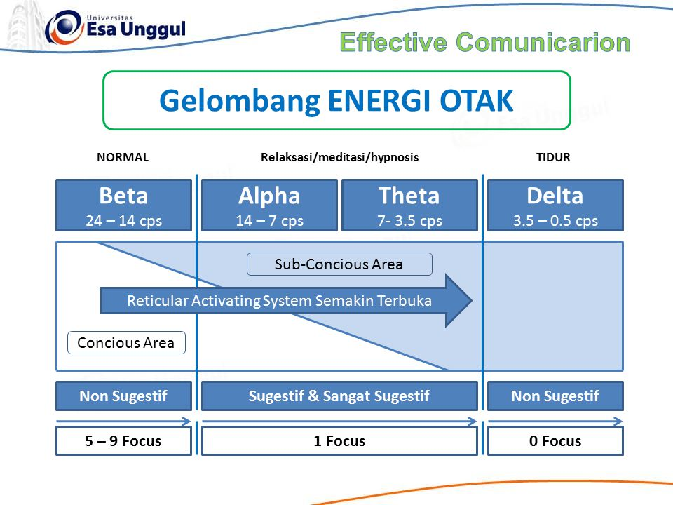 Gelombang ENERGI OTAK Effective Comunicarion Beta Alpha Theta Delta