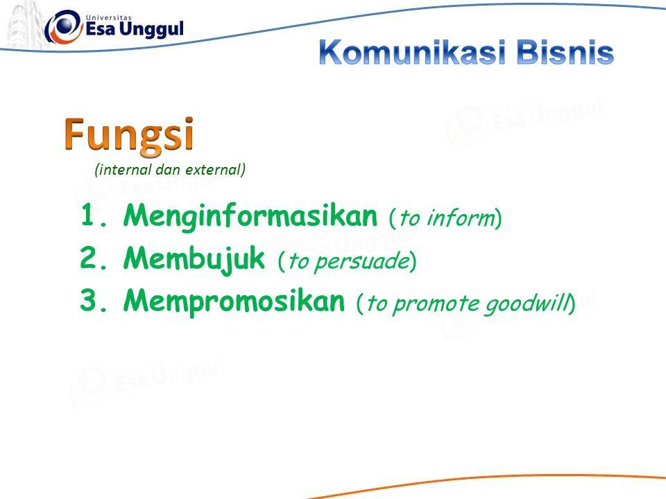 Fungsi Komunikasi Bisnis 1. Menginformasikan (to inform)