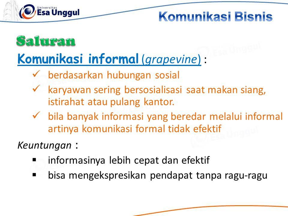 Saluran Komunikasi Bisnis Komunikasi informal (grapevine) :