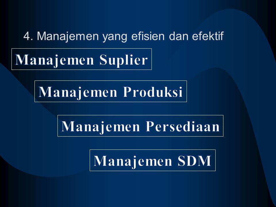 4. Manajemen yang efisien dan efektif